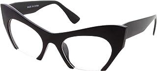 Semi Rimless Cat Eye Glasses Clear Lens Half Frame Cut...