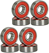 GCA Red Silver ABEC-9 608-RS 11 Bearings for Skateboard Longboard Bearings (8PCS)