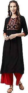 Alena Women Straight Fit Rayon Embroidery Casual 3/4th Sleeve Kurta Light Pink