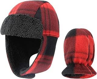 ORVINNER Baby Boys Winter Fleece Hat Mitten Set Infant Toddler Warm Sherpa Lined Hats and Mittens Newborn Earflap Hat