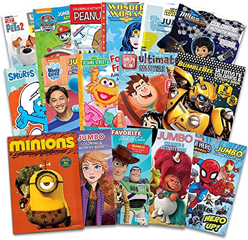16 Bulk Coloring Books for Kids Ages 4-8 - Assortment Bundle Includes 16 Kids Coloring and Activity...