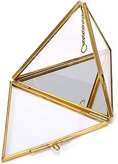 Hipiwe Jewelry Ring Display Holder - Pyramid Ring Holder Geometric Glass Ring Jewelry Box Wedding Ring Bearer Gift Box Hanging Prism Ring Stand Proposal Ring Display Case
