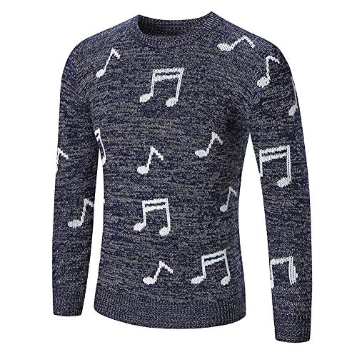 KXZD Mens Cotton Cable Knit Jumper Pullover Winter Sweater Christmas Sweater Xmas Printed Jumper Slim Fit Sweatshirt Knitwear Winter Knitted Jumpers Crew Neck Knitwear Sweater Pullover Tops Blue