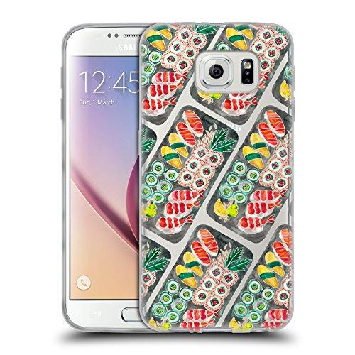Head Case Designs Oficial Cat Coquillette Patrón de Sushi Negro Comida Carcasa de Gel de Silicona Compatible con Samsung Galaxy S6