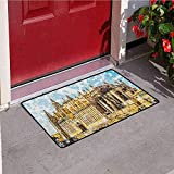 azfvveu Gothic Inlet Outdoor Door Mat Big Gothic Building Sea Shore Cathedral of Palma De Mallorca View from Road Catch Dust Snow and Mud Cream Blue White 16x24(IN)