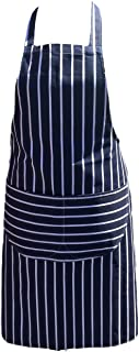 Chefs Apron Professional Quality Blue & White Butchers Kitchen Cooks Restaurant Bistro BBQ School College Double POCKETS 1...