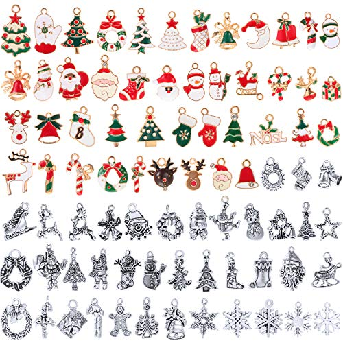 95 Pieces Mixed Christmas Charms Enamel Christmas Charms DIY Jewelry Christmas Pendants Christmas Theme Charms for Jewelry Bracelet Necklace Earring Craft Making Supplies
