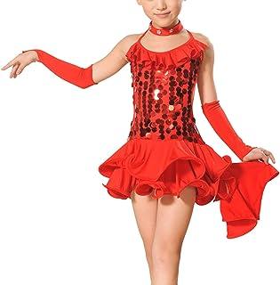 29817bed114ec Feoya - Robe Costume Latino Fille Robe Danseuse Salsa Leotard Robe Danse  Irrégulière Robe à Bretelles