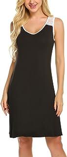 Ekouaer Sleeveless Nightgown Women's Tank Top Sleepwear Nightshirts Sleep Dress S-XXL