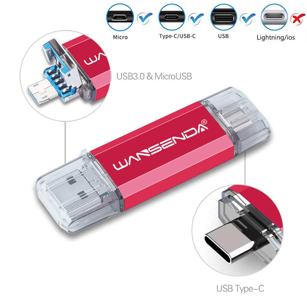 128GB 256GB 512GB OTG USB Flash Drive High Speed USB 3.0/3.1 & Type-C & Micro USB Photo Stick for Android Phone/Tablet/Computer (256GB, Red)