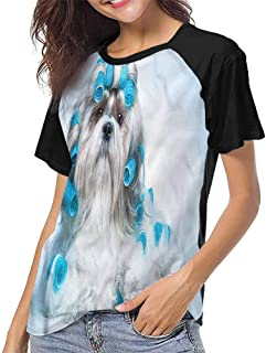 Tops O Neck T Shirts,Dog Lover,Naughty Sad Puppy Comical,Sleeves for Women