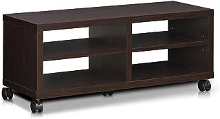Furinno Indo FL-4010EX 2-poziomowy niski stan TV stojak do rozrywki z kółkami, espresso
