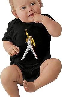 Freddie Mercury Unisex Infants 100% Cotton Short Sleeve T Shirt Baby Cotton Short Sleeve Jersey Bodysuits Black
