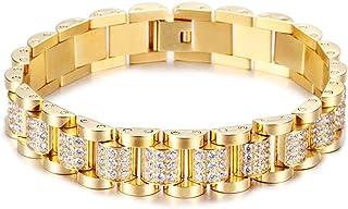 be3710cd44e1 YOLANDE Pulsera de Diamantes de imitación para Hombre de 13 mm. Chapado en  Oro de