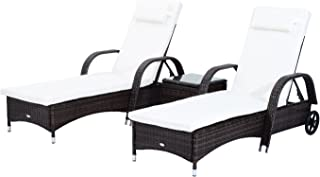 Outsunny 3 Piece Rattan Wicker Adjustable Chaise Lounge Chair with Wheels Set - Brown/White