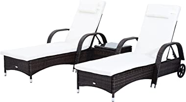 Outsunny 3 Piece Rattan Wicker Adjustable Chaise Lounge Chair with Wheels for Easy Moving & Padded Cushions, Brown