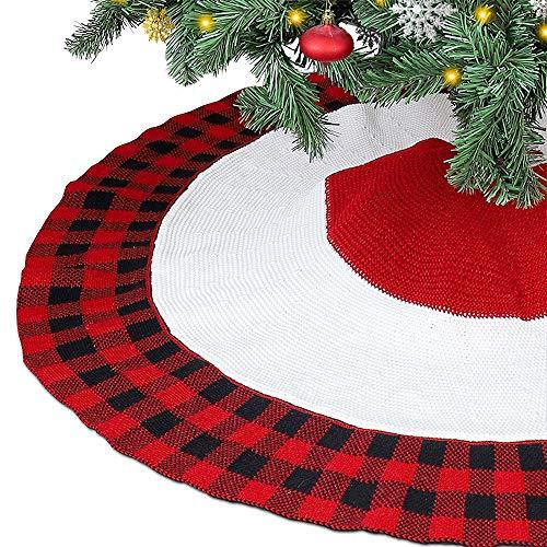 Leeko Weihnachtsbaumdecken, Weihnachtsbaum Gestrickter Rock Dekoration, Schutz vor Tannennadeln Weihnachtsbaumdecke Rund für Weihnachten (Rot 3)
