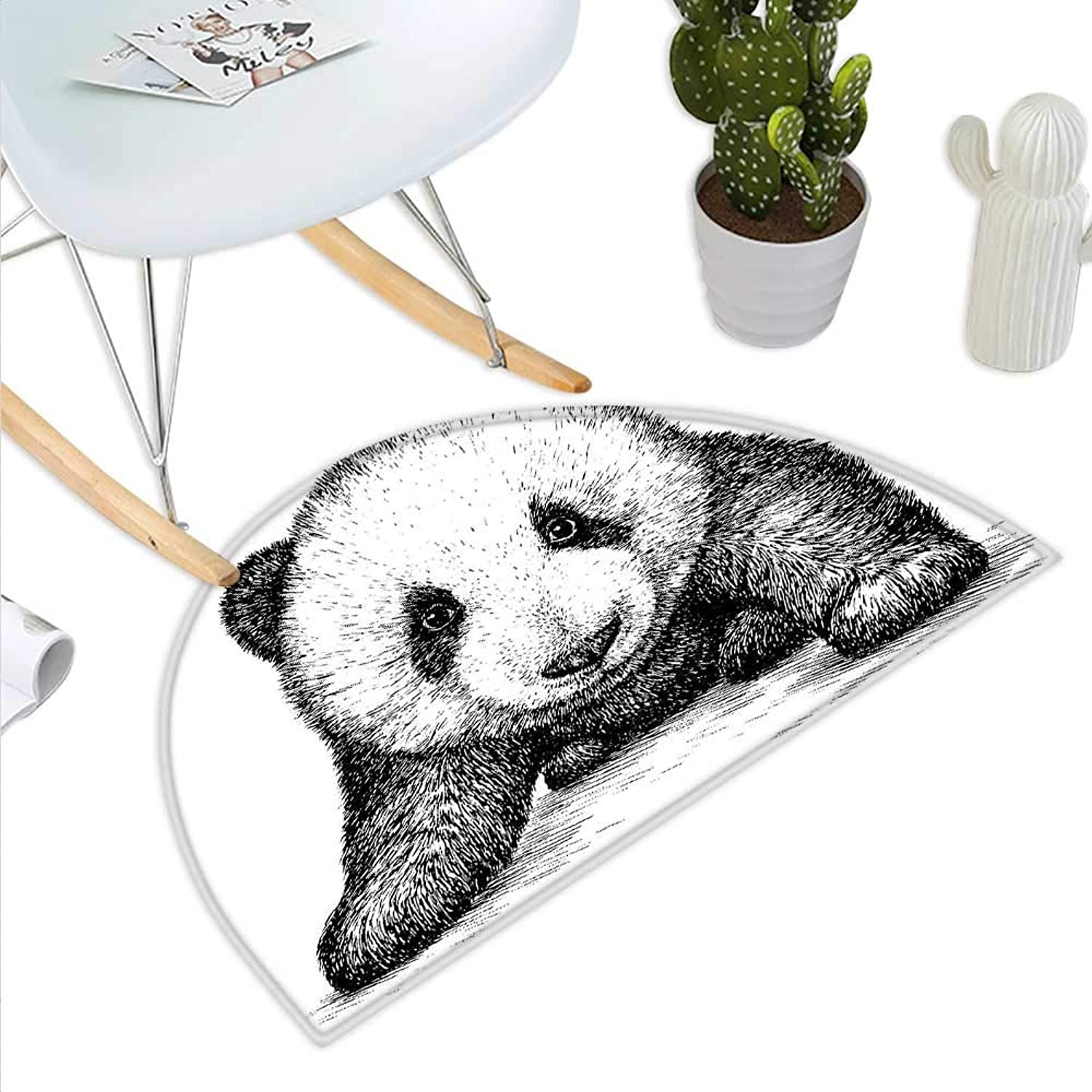 Panda Semicircle Doormat Baby Panda Bear Illustration Sketch Style Artwork Asian Nature Wild Animals Theme Halfmoon doormats H 39.3  xD 59  Black White