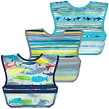green sprouts® Snap & Go® Wipe-off Bibs (3 pk) | Waterproof protection for messy eaters | Neatly rolls up for mess and ute...