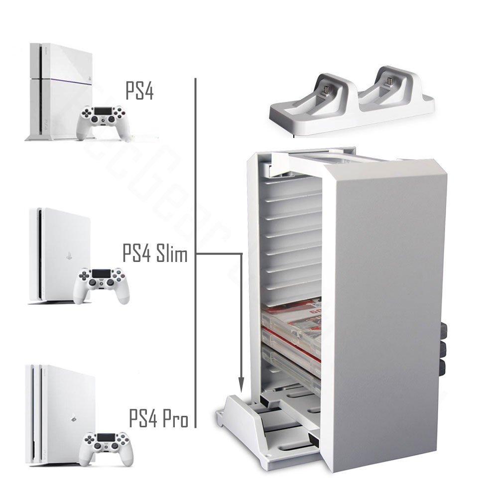 Games Storage Tower, Soporte Vertical para PS4, Estación de carga ...