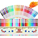 Caliart 32 Colors 40% More Ink Colored Gel Markers Fine Point Pens