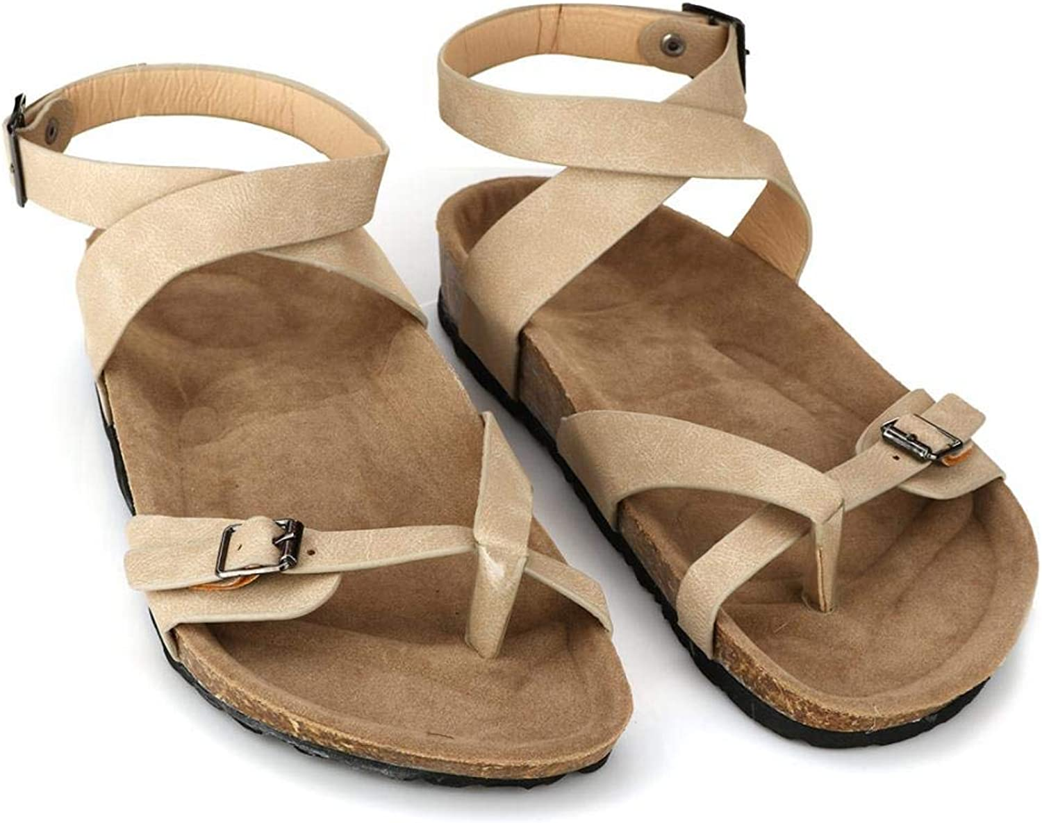 YYW Women Cross Toe Slides Sandals Thong Flat Gladiator Sandals Buckle Strappy Cork Sole for Summer