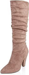AIIT Women's Fashion Chunky High Heel Knee High Boot Shoe
