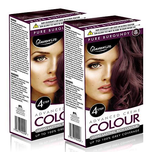 2pk Pure Burgundy Hair Dye | Easy to Use, Fade Resistant Hair Colour | Includes 2 Colour Cream Gel,...