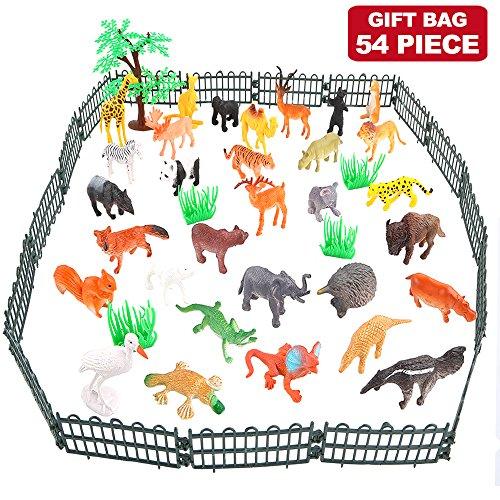 Tierfiguren, 54 Stücke Mini-Spielzeugset von Dschungel-Tieren, Tierwelt, lebensechte Wildtiere, Lernstoffe, Partyzubehör, Spielzeuge für Jungs und Kinder, Playset von Tieren im Wald und kleinen Farm - 2