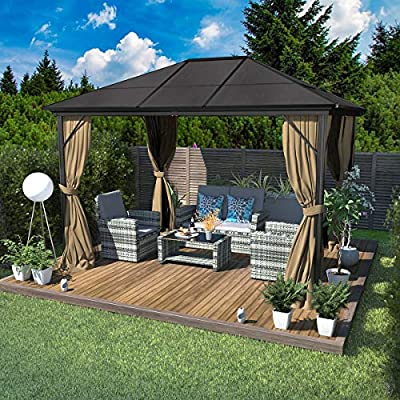 YITAHOME 10x12 ft Outdoor Canopy Gazebo with Mosquito Netting?and Shaded Curtains, Aluminum Hard-Top Garden Tent for Patio, Backyard, Deck, Lawns,Parties (10 X 12 ft)