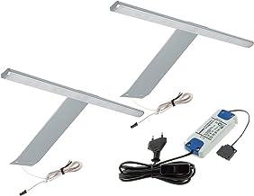 LED kledingkastverlichting 2er 3er set 31cm 4W in aluminium IP23 meubels spiegel badkamer met voeding (2x SET aluminium - ...