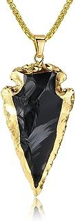 COAI Raw Obsidian Dragonglass Arrowhead Pendant Long...