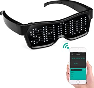 alavisxf xx LED Glasses, Bluetooth APP Connected LED Display Smart Glasses USB Rechargeable DIY Funky Eyeglasses for Party Club DJ Halloween Christmas