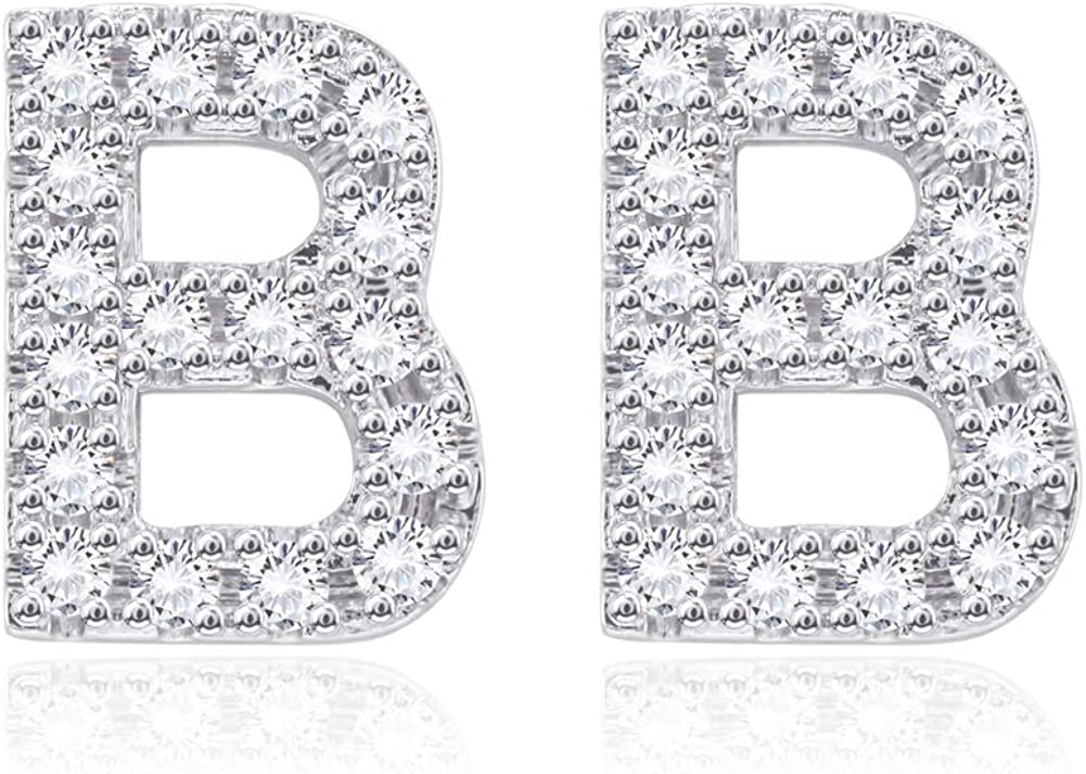 Fashion Big Alphabet Letter Initial Earrings CZ Simulated Diamond Stud Earrings for Women Girls Sensitive Ear Sterling Silver Plated Cubic Zirconia Hypoallergenic 12mm Jewelry Gifts for Bff Birthday
