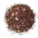 Aromas de Té - Infusión Rooibos Praliné Premium Sabor Dulce/Té Rooibos Praliné con trozos de Fresa Pétalos de Rosa Vitamina C Digestivo, 50 gr.