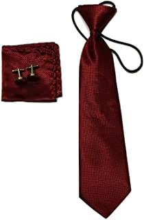 L&L Kids Children Woven Silk Tie Set Cufflinks and Handkerchief Set Hanky Wedding