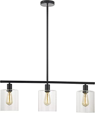 LeeZM Rustic Industrial Chandeliers Modern 3-Light Glass Shades Pendant Lighting Vintage Farmhouse Adjustable Wire Ceiling Li