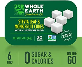 WHOLE EARTH SWEETENER Stevia Leaf and Monk Fruit Sweetener Cubes, Erythritol Sweetener, Sugar Cubes and Stevia Drops Sugar Substitute, Zero Calorie Sweetener, 30 Cubes per Tin (Case of 6)
