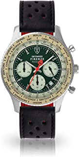 DETOMASO Firenze Mens Watch Chronograph Analogue Quartz Black Racing Leather Strap Green Dial DT1069-B-840