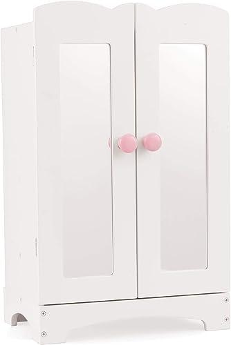 KidKraft- Armoire Lil' Doll Incluant Ceintres pour Poupées, 60132, Blanc, 45 cm