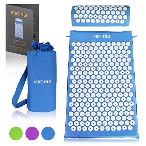 High Pulse Akupressur Set + Tasche + Poster – Akupressurmatte & Kissen stimuliert die Blutzirkulation und löst Verspannungen (Blau)