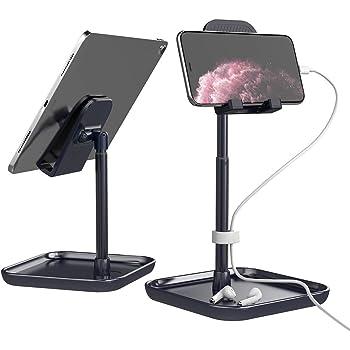 Licheers タブレットスタンド 角度と高さ調整可能 iPadスタンド 卓上 携帯 スタンド Switch, iPhone, Samsung, Sony, LG, Kindleなど(4-11インチ)に対応 日本語説明書付き - 黒青