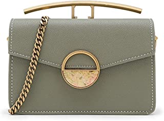 Fashion Black/Green Female Bag Double Bread Semi-Precious Stone Chain Shoulder Bag Messenger Bag Small Square Bag 16.5 * 14 (cm) (Color : Green)