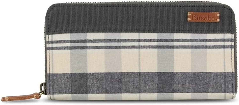 TRENDY 100% Thai Handwoven Cotton Check Plaid Long Wallet Purse (Pastel Black)
