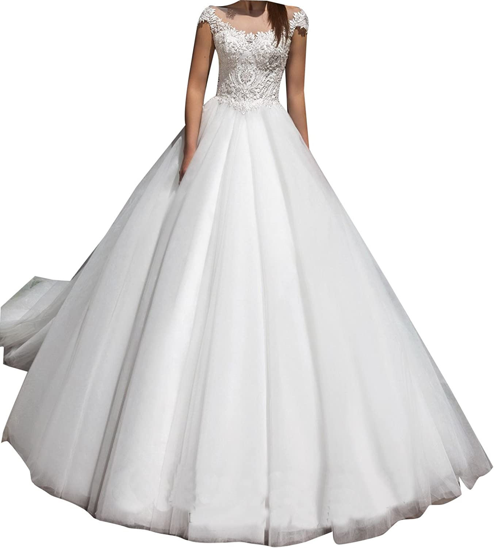 LISA.MOON Women's Bateau A Line Lace Applique Sweep Train Tulle Wedding Dress