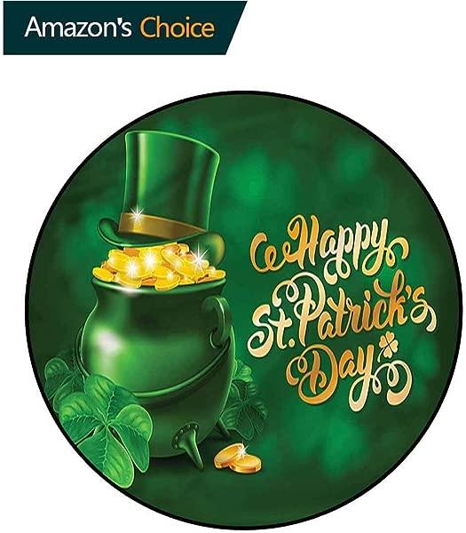 RUGSMAT St Patricks Day Washable Creative Modern Round Rug Irish Pot Of Gold Non Slip Soft Floor Mat Home Decor Diameter 35