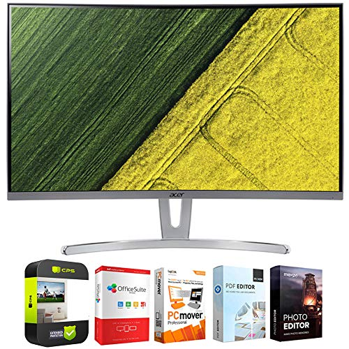 Acer UM.HE3AA.004 ED273 wmidx 27-inch Full HD Curved Monitor with Freesync Bundle with 1 Year Extended Protection Plan and Tech Smart USA Elite Suite 18 Standard Editing Software Bundle