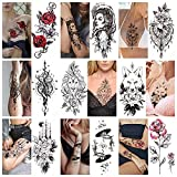 Temporary Tattoo For Adults Men Women - 9 Sheets Tiger Snake Animal Tattoo Sticker,Large Arm Removeable Plant Flowers Rose Clock Body Art Sticker,Waterproof Sketch Armband Totem Tattoo Stickers,G