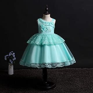 Luxury Princess Dress Lace Dress Skirt Children Sleeveless Flower Girl Dress Catwalk Stage Performances Princess Dress Tutu Oblique ryq (Color : Green, Size : 160cm)