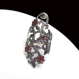 Lozse Anelli regolabili Anello aperto per il rosso melograno viso largo anello in argento Sterling S925